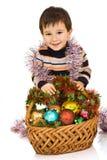 мальчик новый s корзины toys год Стоковая Фотография RF
