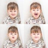 Мальчик около белые занавесы взволнованности Стоковая Фотография