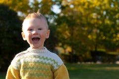 мальчик осени меньший парк Стоковые Изображения