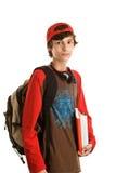мальчик подготовляя школу к Стоковые Изображения