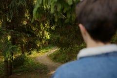 Мальчик подростка в лесе стоковая фотография rf