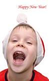 мальчик поздравляет счастливое маленькое Новый Год Стоковое фото RF