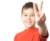 мальчик препятствуя вне yell победы Стоковое фото RF