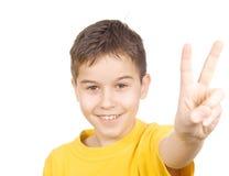 мальчик препятствуя вне yell победы Стоковые Фото