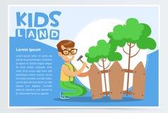 Мальчик ремонтируя загородку с молотком, концепцией eco, детьми приземляется элемент вектора знамени плоский для вебсайта или пер иллюстрация вектора