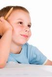 мальчик рисует детенышей Стоковое Фото