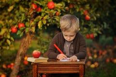 Мальчик сидит на таблице и рисует в яблоневом саде стоковое фото