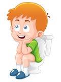 Мальчик сидит на туалете иллюстрация вектора