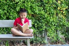 Мальчик сидя на руке деревянной скамьи на его подбородке читая bo Стоковое Изображение RF