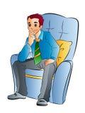 Мальчик сидя на софе иллюстрация вектора