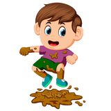 Мальчик скача в грязь бесплатная иллюстрация