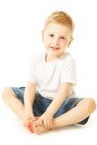 мальчик смеясь над немного Стоковое Изображение RF