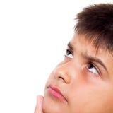 мальчик смотря вверх интересуя детенышей Стоковая Фотография RF