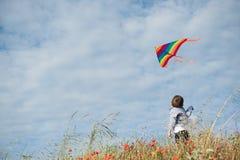 Мальчик стоя в поле держит летание змея летания в воздухе против красивого неба Стоковая Фотография RF