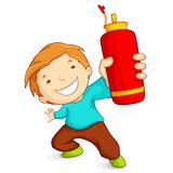 Мальчик с бутылкой воды иллюстрация штока