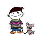 Мальчик с другом собаки Стоковые Фото