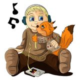 Мальчик с игроком обнимает Fox Стоковые Фотографии RF