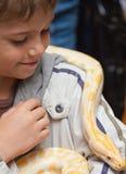 Мальчик с питоном стоковое фото rf