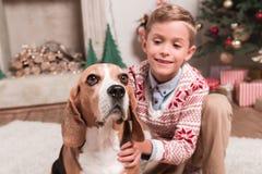 Мальчик с собакой бигля на рождестве Стоковые Изображения