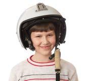 Мальчик с шлемом Стоковые Фотографии RF