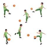 мальчик угла играя футбол съемок различный стоковая фотография rf