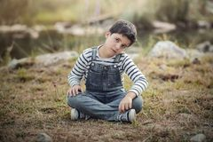 мальчик унылый Стоковая Фотография