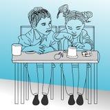 Мальчик формы мультфильма наблюдая к кто-то иллюстрация штока
