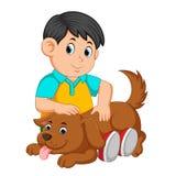 Мальчик царапая заднюю часть собаки иллюстрация штока