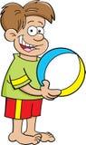 Мальчик шаржа держа шарик пляжа Стоковые Изображения