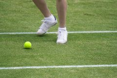 Мальчик шарика гоня теннисный мяч стоковое изображение rf