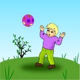 мальчик шарика иллюстрация вектора