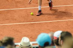 Мальчик шарика pipcking вверх по bal на теннисном корте Стоковые Фото