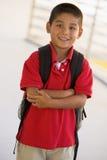 мальчик backpack Стоковая Фотография