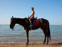 мальчик horseback Стоковое Изображение