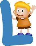 мальчик l письмо алфавита Стоковые Фото