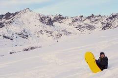 мальчик sledding Стоковое Изображение