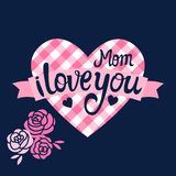 Мама вектора я тебя люблю на checkered сердце Стоковое Фото