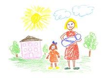 мама детей Стоковая Фотография