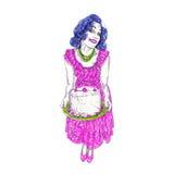 Мама 50 лет с шаржем торта Стоковое Изображение RF