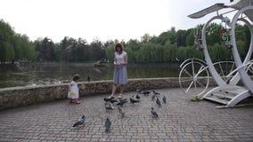 Мама и дочь идут в зеленый парк акции видеоматериалы