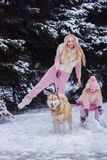 Мама и дочь идя собака осиплой породы в снежном парке стоковое изображение