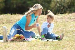 Мама и дочь на пикнике Стоковая Фотография