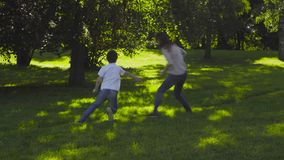 Мама и мальчик играя наверстывание на glade сток-видео