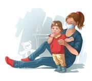 Мама и младенец больная вирусная инфекция. Обработка гриппа.  Иллюстрация вектора для дизайна Стоковое Изображение