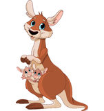 Мама и младенцы кенгуру Стоковое фото RF