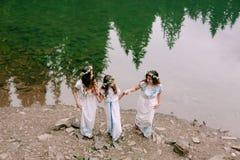 Мама и 2 дочери идя около озера Стоковые Фото