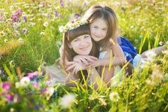 Мама и дочь на пикнике в стоцвете field 2 красивых блондинкы в стоцвете field на предпосылке лошади Стоковая Фотография RF
