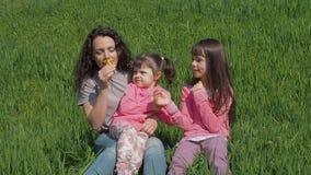 Мама и дочь обнюхивают желтые цветки Семья в природе в лете Женщина с маленькими девочками на зеленой траве Счастливая семья внут видеоматериал