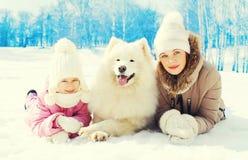 Мама и ребенок с белым Samoyed выслеживают зиму стоковые фото
