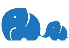 Мама и ребенок слона Стоковые Изображения